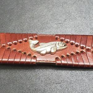 Brighton brown leather fish belt